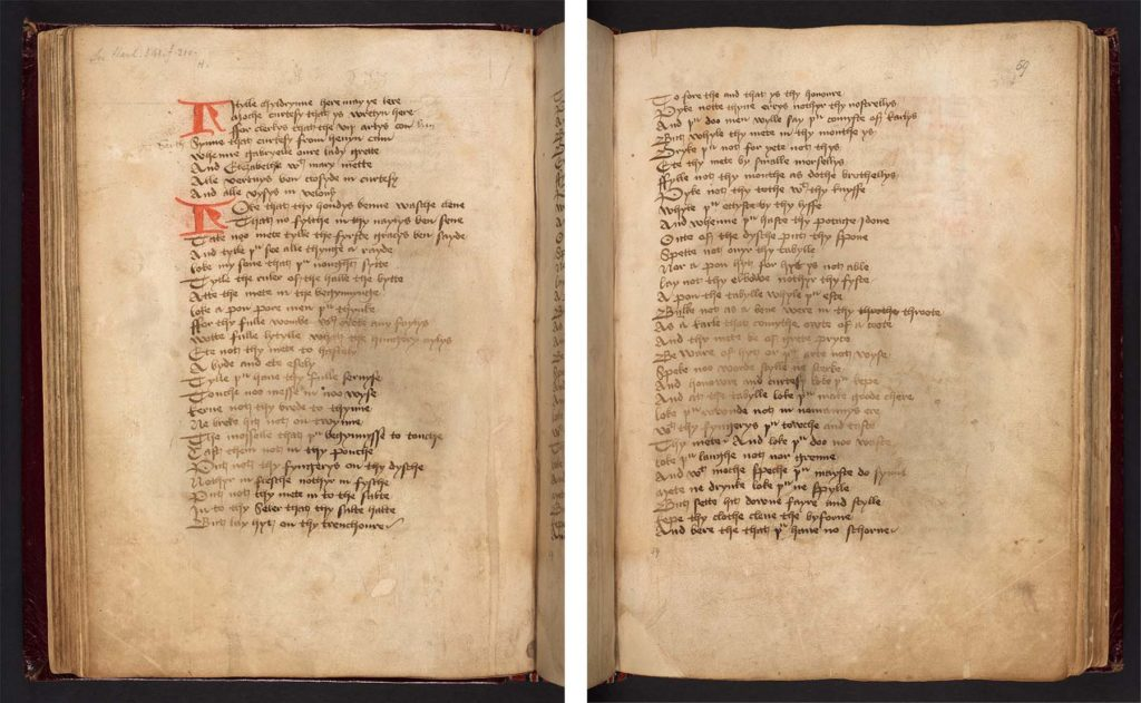 two pages of a medieval manuscript in Middle English