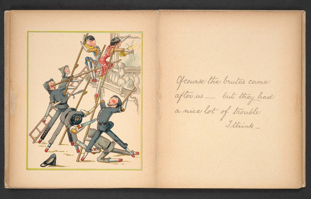 an illustration from a book featuring peg dolls smashing windows as suffragettes as peg doll police try to stop them