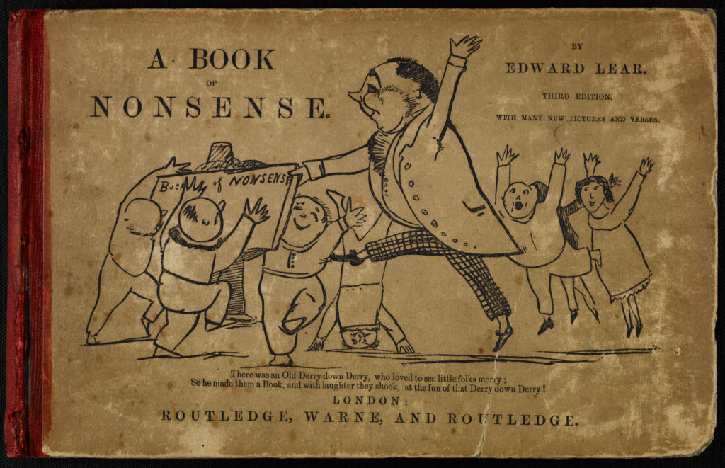 a book cover of Edward Lear's Book on nonsense featuring a man with lots of happy little kids