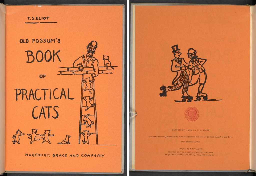 a photo of the front and back of a copy of TS Eliot's Old Possum's Book of Practical Cats