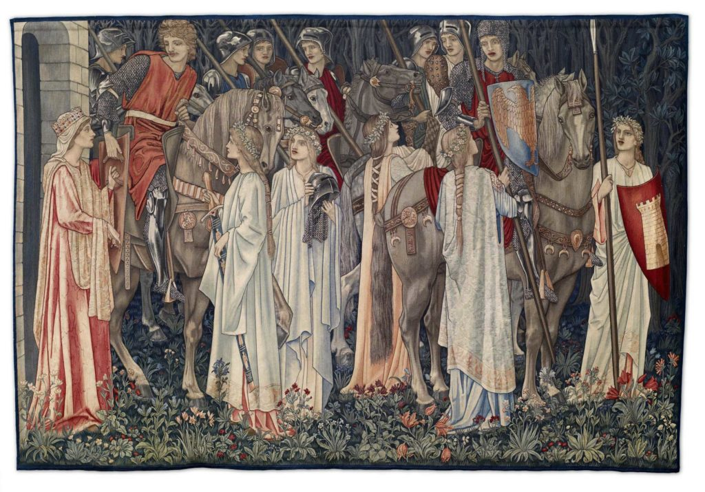 a tapestry depicting a group of medieval knights on horseback attended by medieval maidens