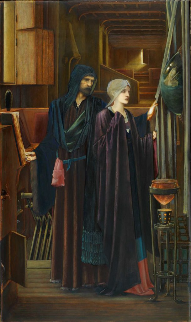 Two figures in a narrow, darkened chamber. A bearded man in a heavy robes, reveals a convex mirror to a young, veiled girl, behind a drape