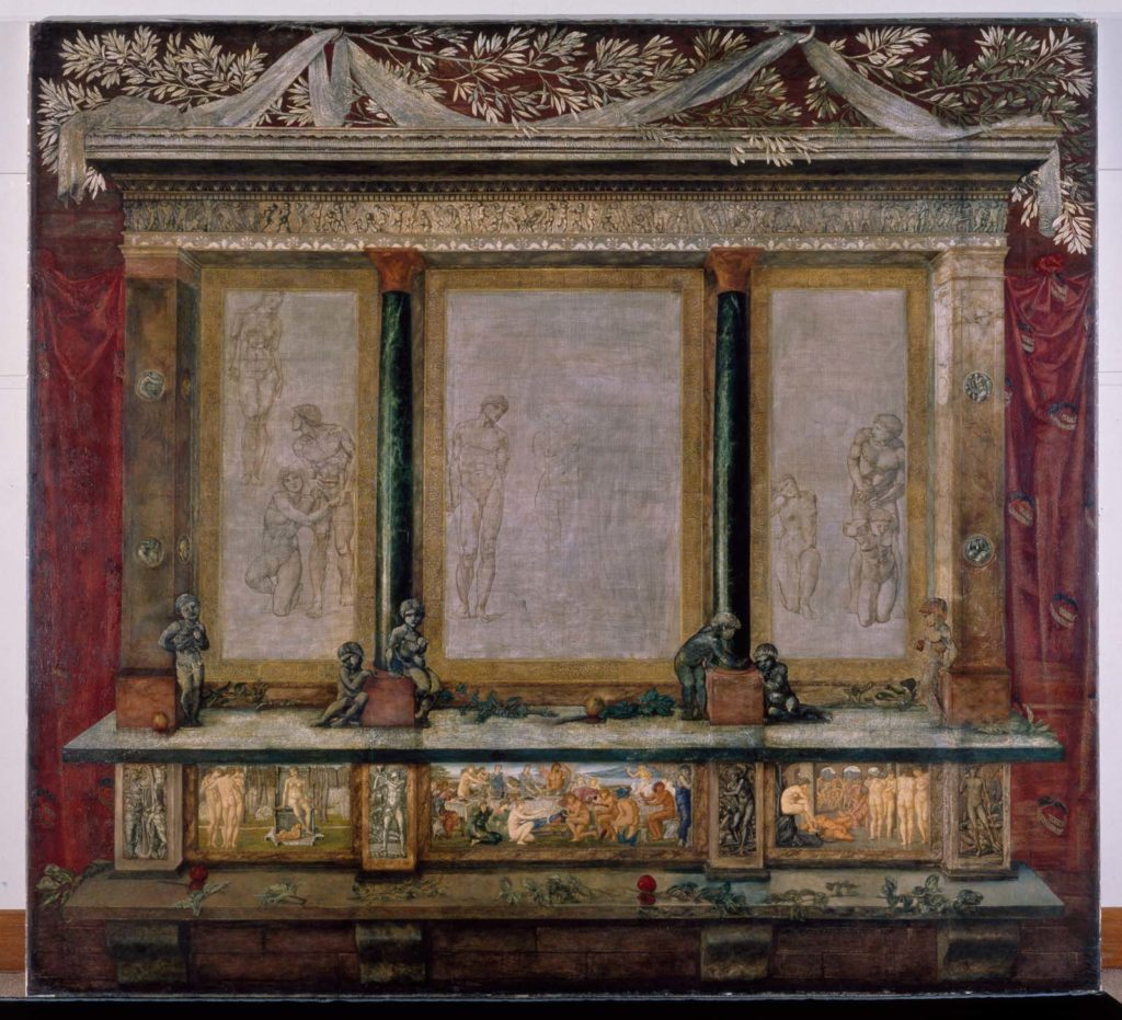 a photo of a very baroquely framed triptych with nude male figures
