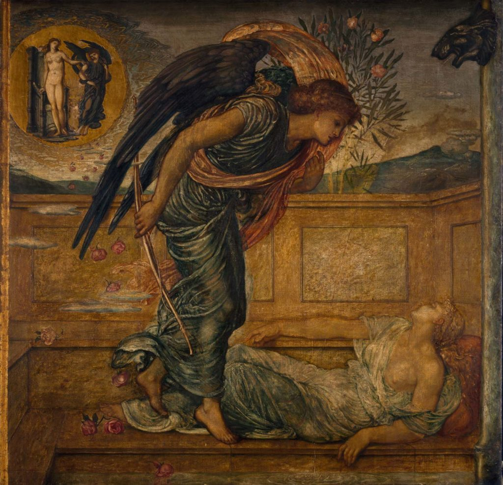 a painting of an angel figure hovering over a prone semi naked woman on the ground