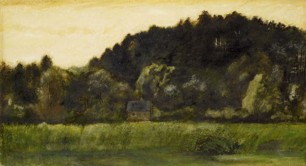 a painting of a small house in a landscapes of fields and forested hills