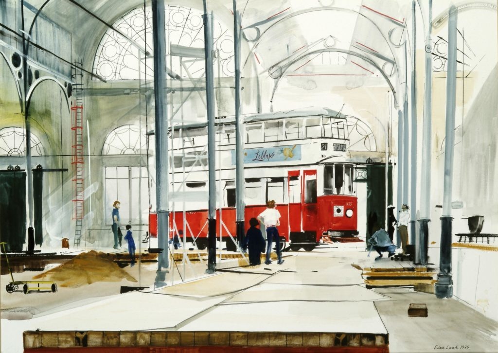 a drawing of the interior of London TRansport Museum a