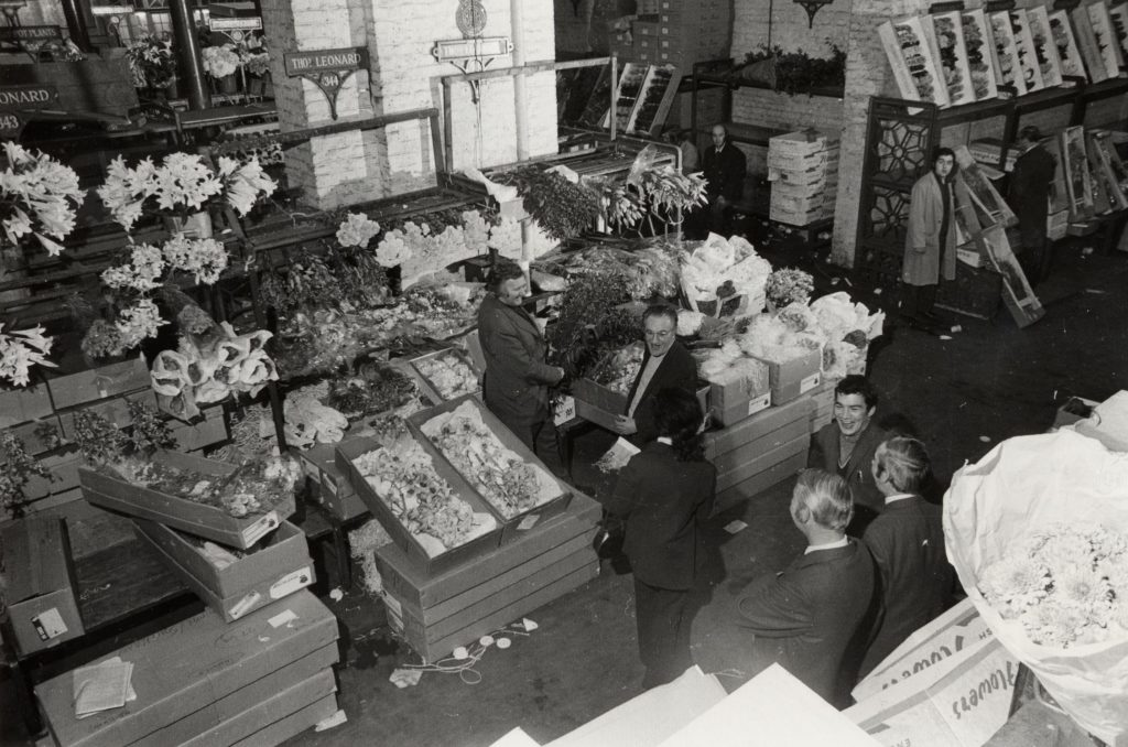a photo of a flower market seen from above
