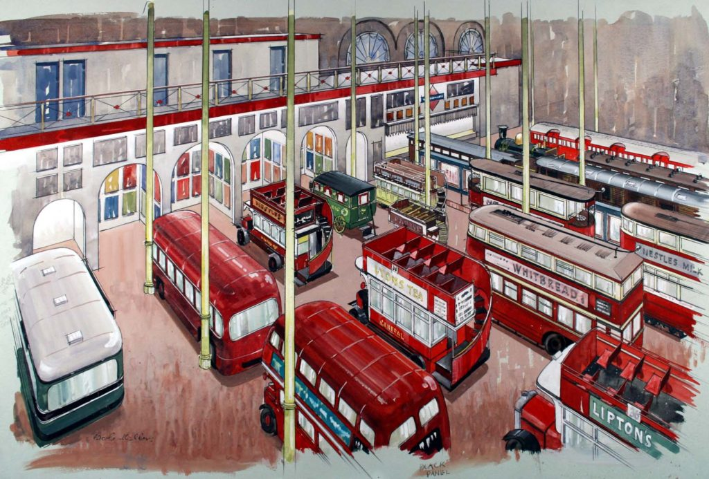 a watercolour of a transport museum showing lots of buses and trolleys in a large gallery