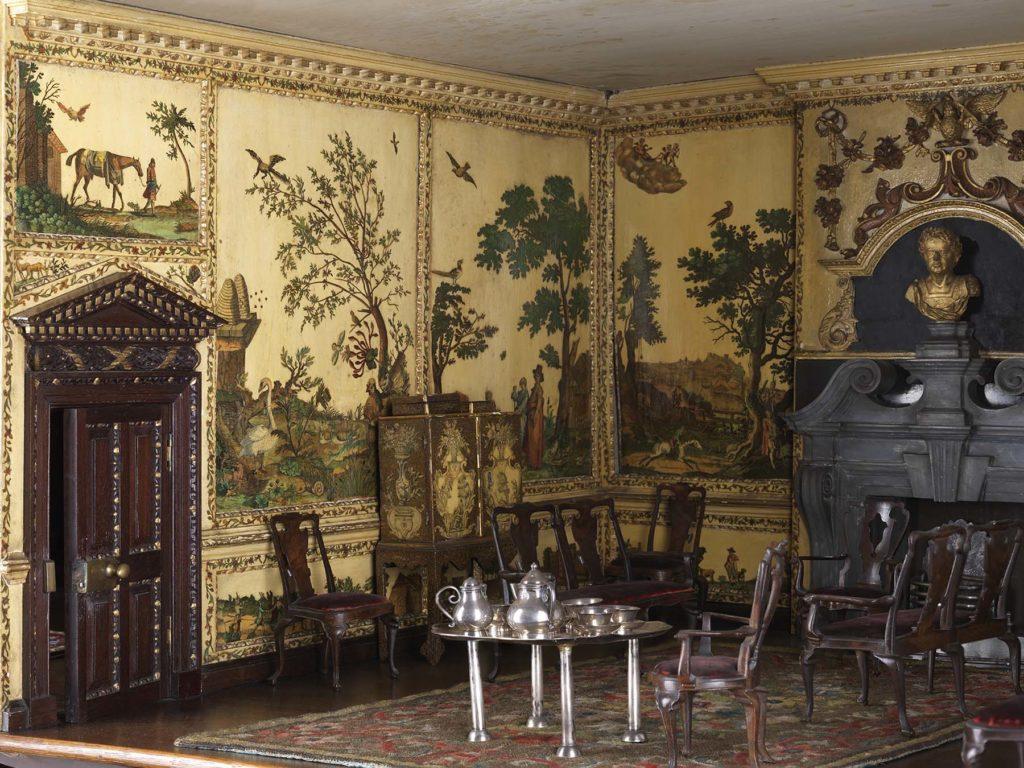 a photo of an ornate Georgian dolls house interior