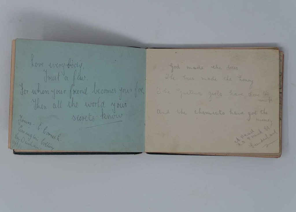 an autograph book with poems about life in a munitions factory during World War One