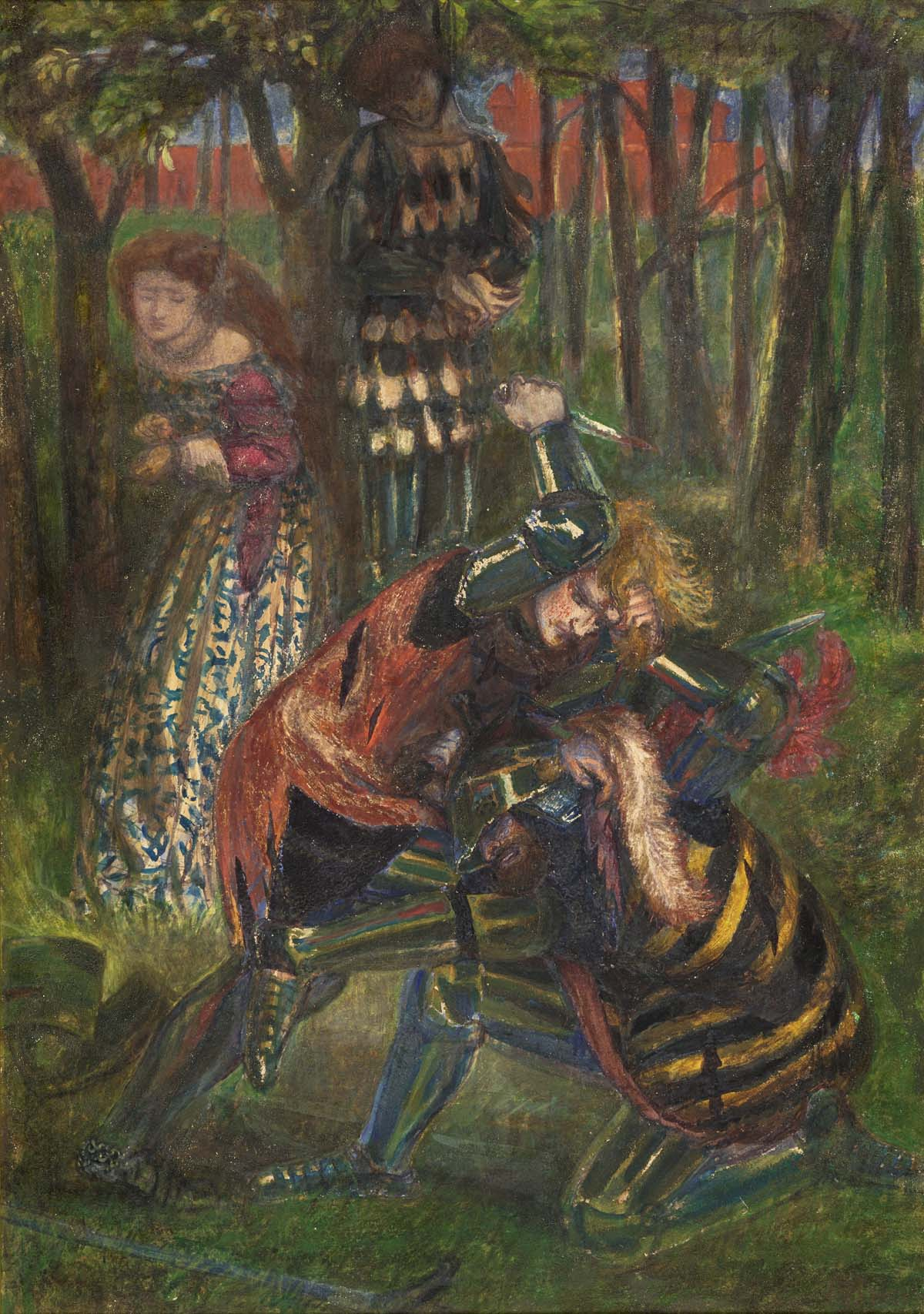a colur drawing of two medieval knights fighting as a damsel looks on from a nearby tree