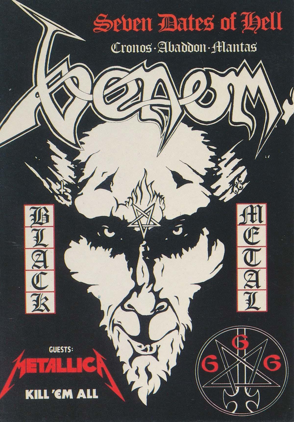 a heavy metal postcard with a devil like figure on it