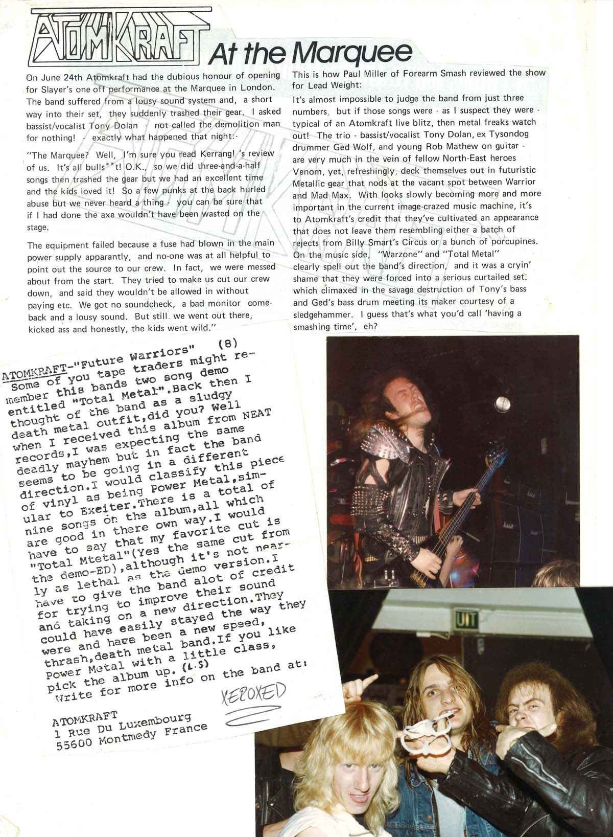 a photo of press cuttings and photos of heavy metal bands