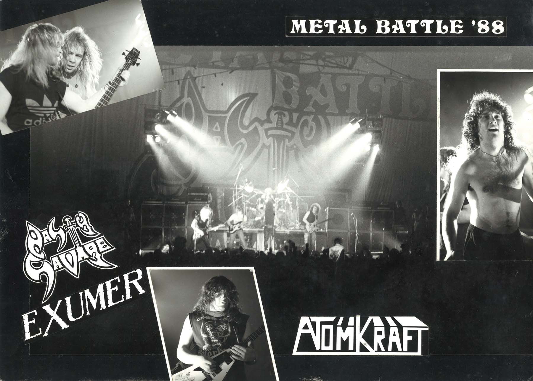 a collage of photos of heavy metal bands on stage