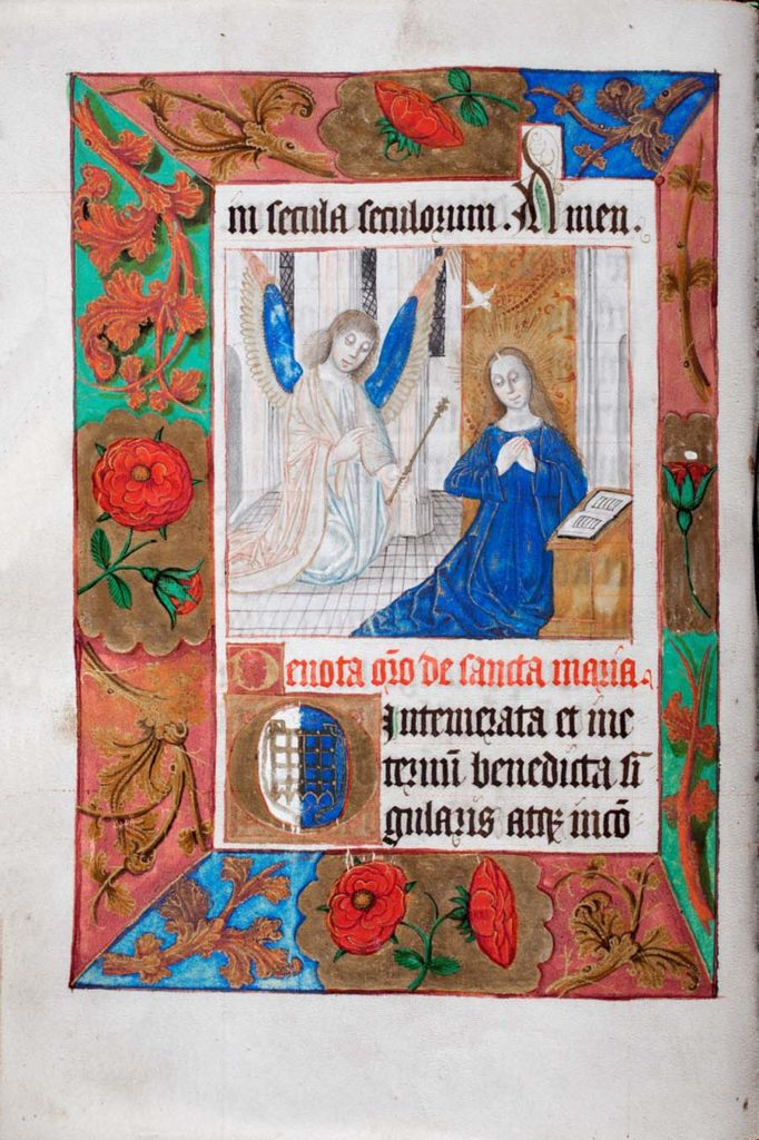 an illuminated page from a prayer book featuring the Virgin Mary