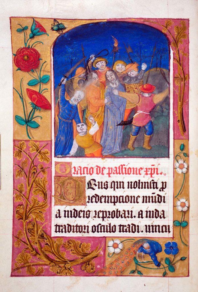 an illuminated manuscript showing Christ and followers