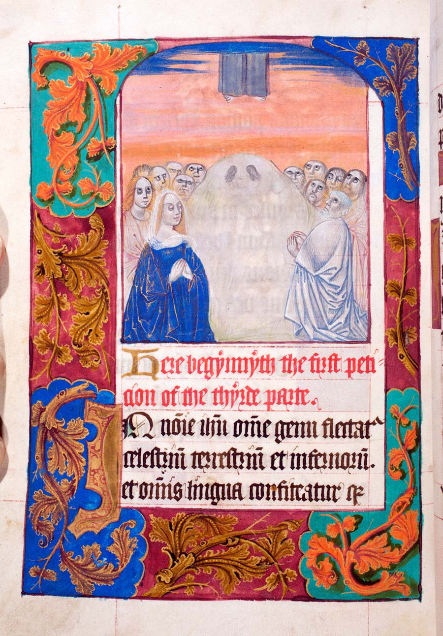 a page of an illuminated prayer book showing a ghost like figure