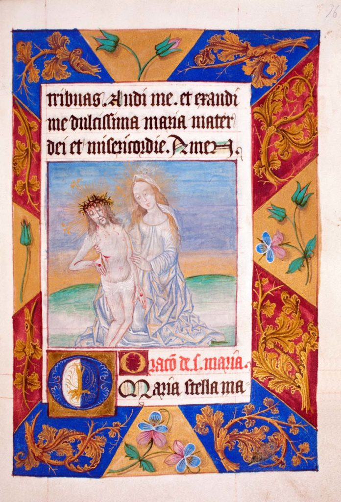 illuminated manuscript illustration of MAty supporting the resurrected Christ