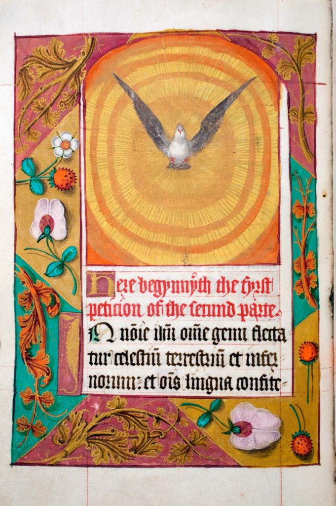 illumianted manuscript page with a winged dove