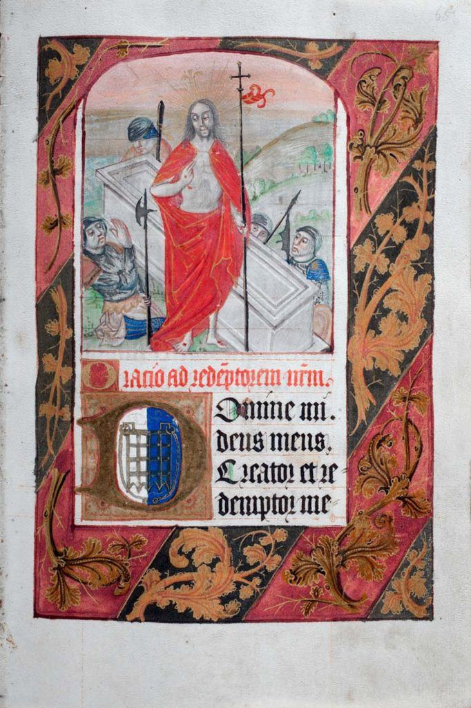 an illuminated mansucript page showing Christ resurrected