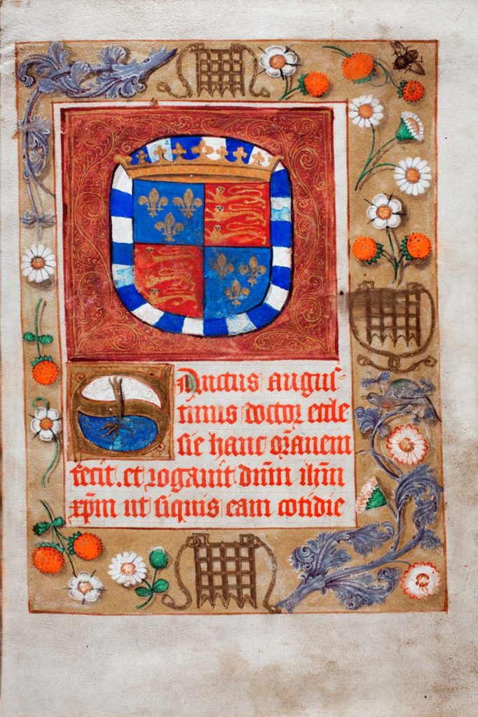 an illuminated page from a prayer book featuring coats of arms
