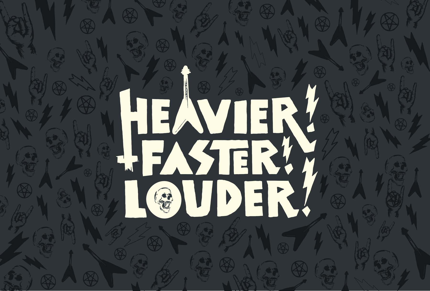 heavier faster louder postcard with words on a black background