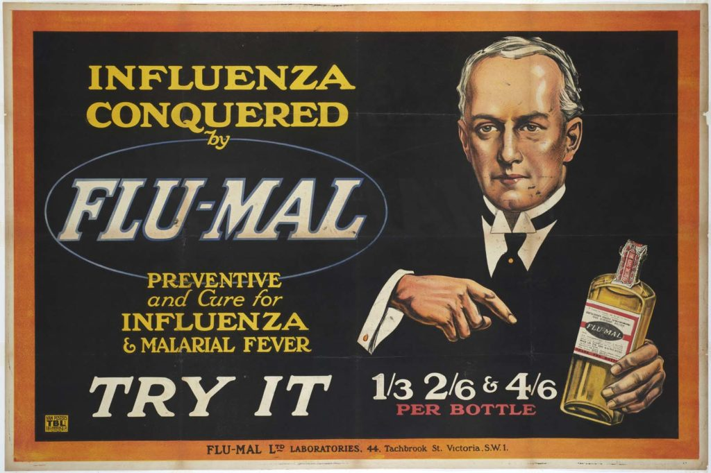 a poster with a man extorting a medicine called Flu-Mal