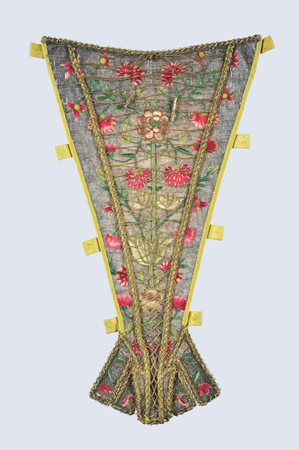 7.Embroidered stomacher with yellow tabs