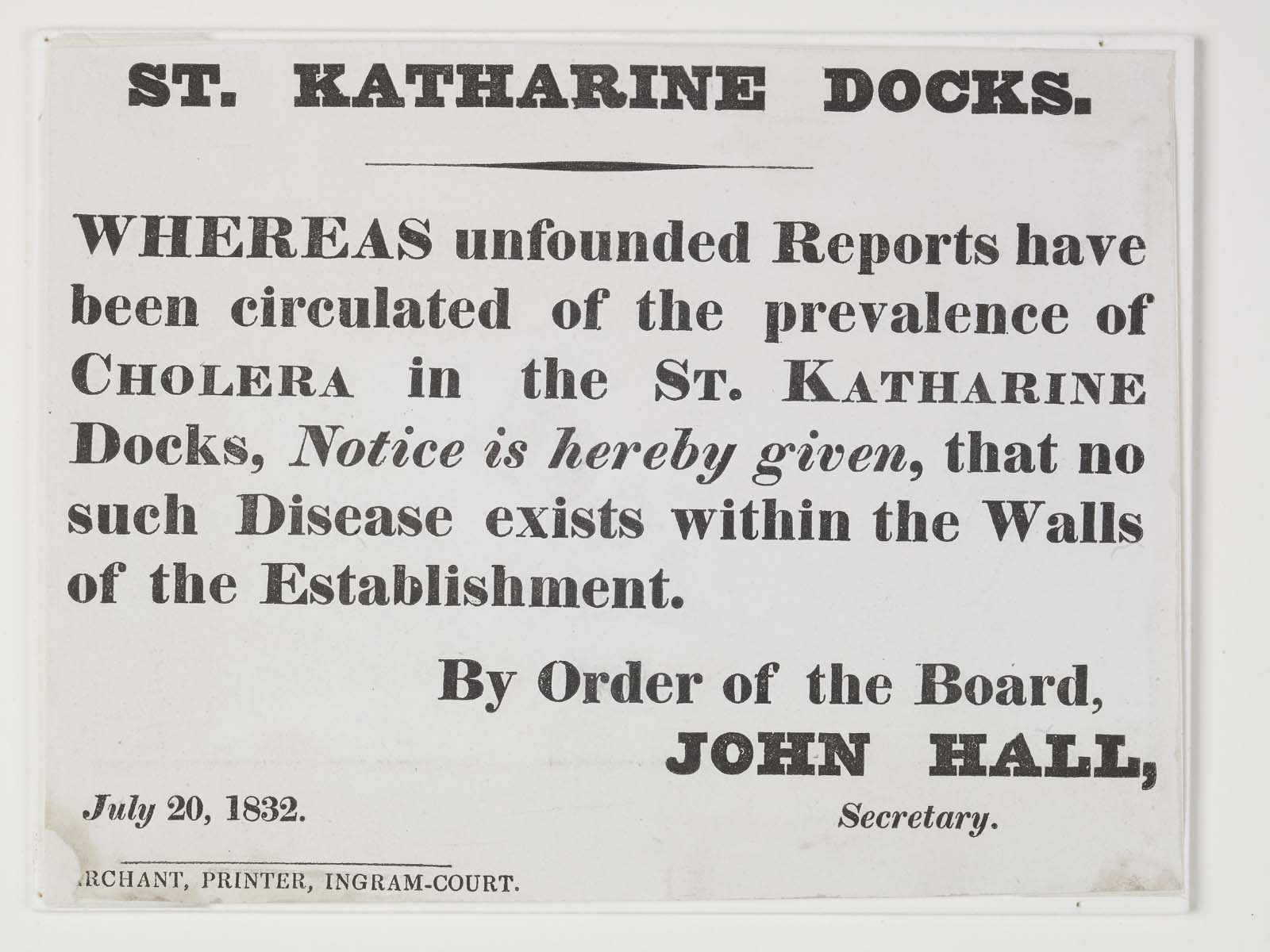 a printed notice about cholera