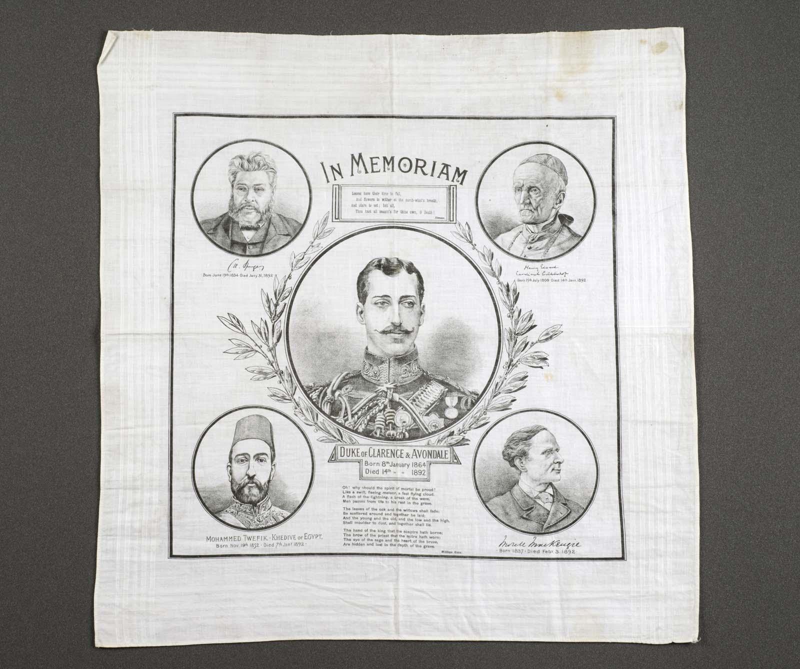 Printed handkerchief, titled 'In Memoriam Duke of Clarence'.