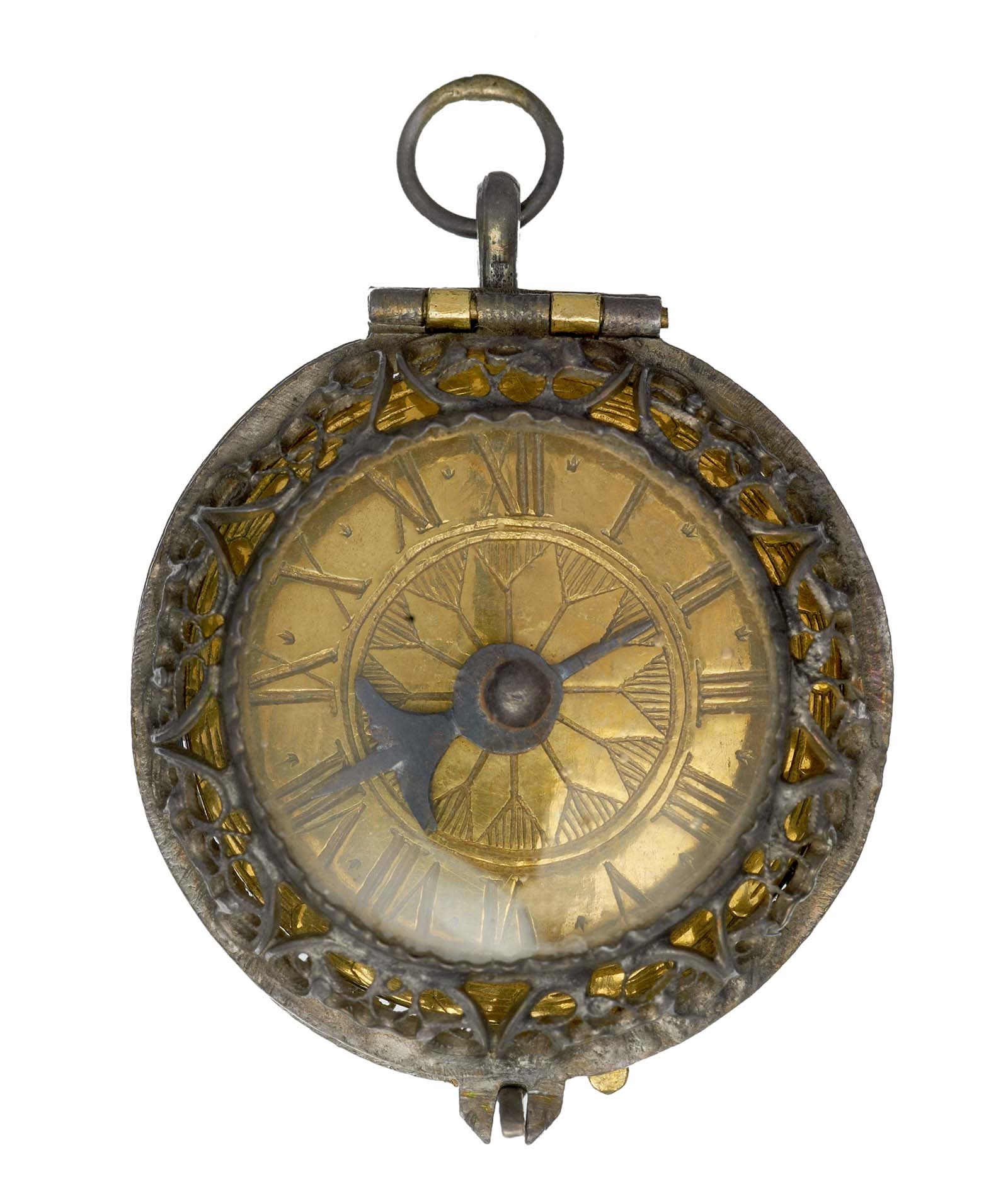 an ornamental fob watch with gold face