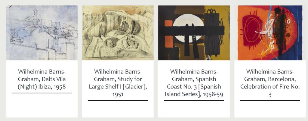 screenshot of a page showing series of abstract paintings