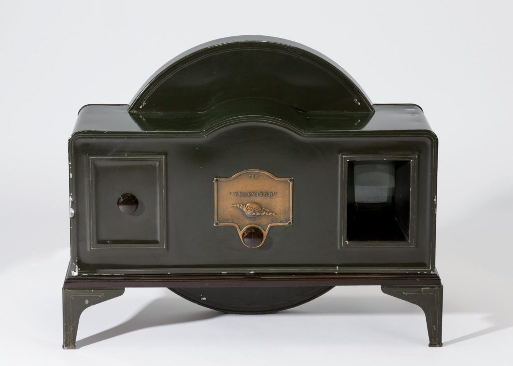 1930s televisor - amade from tin with a brass plaque