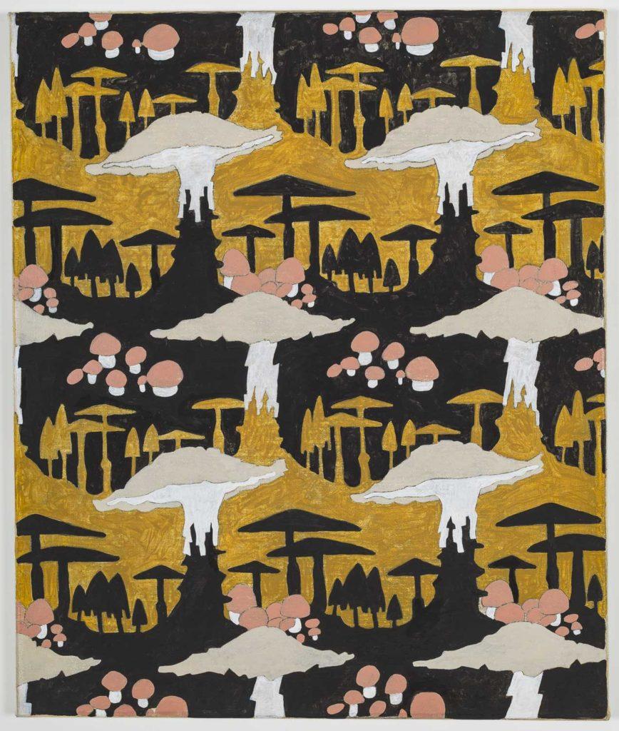 a repeating fabric print with mushroom motifs
