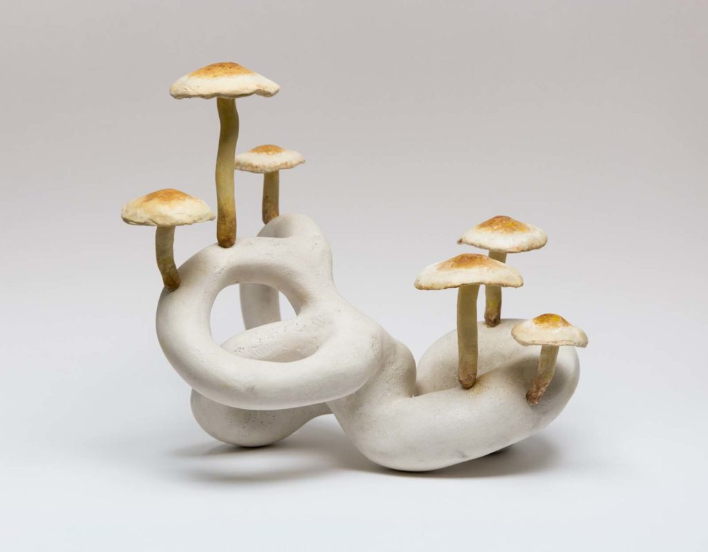 a ceramic artwork consisting of a swirl with mushrooms growing from it