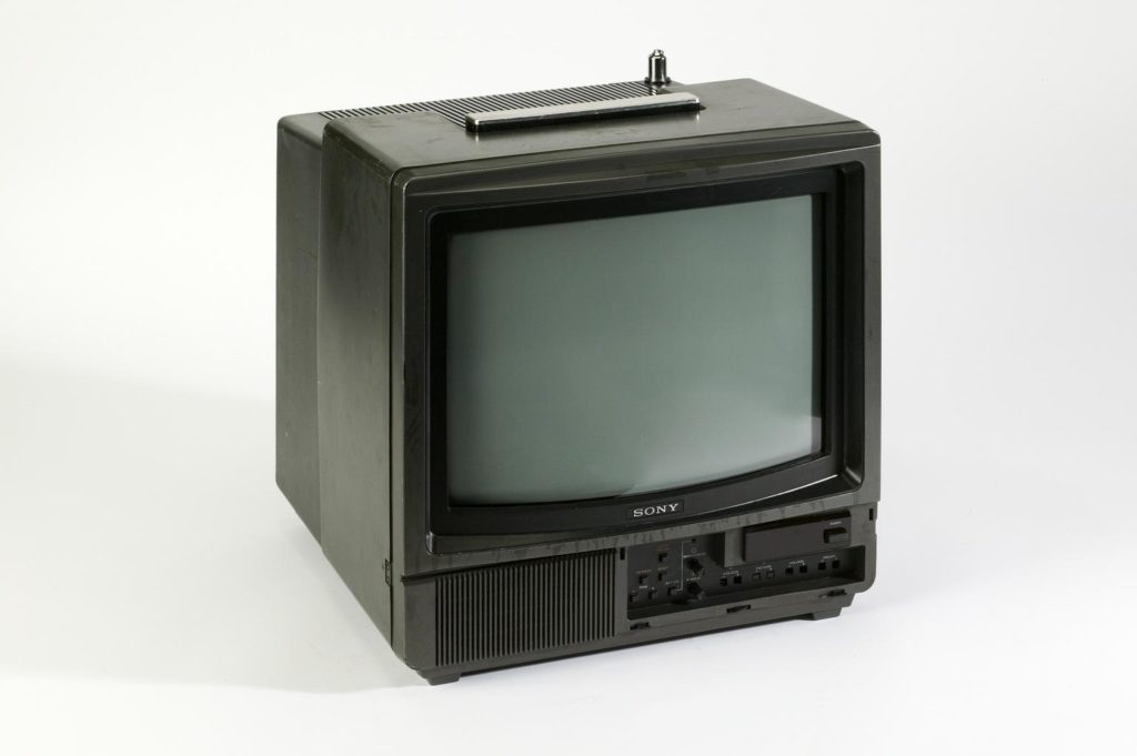 cuboid television set with chunky black plastic surround