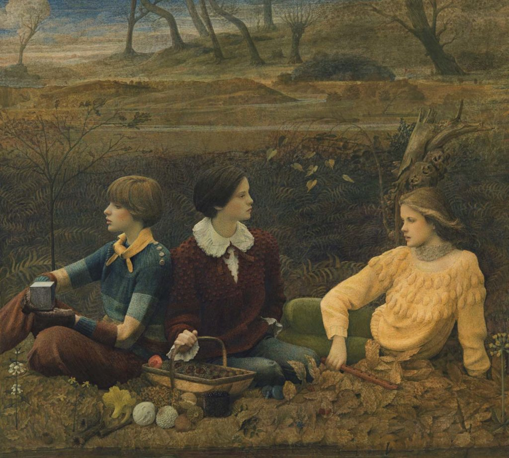 a painting of three young women seated next to a woodland in autumnal hues