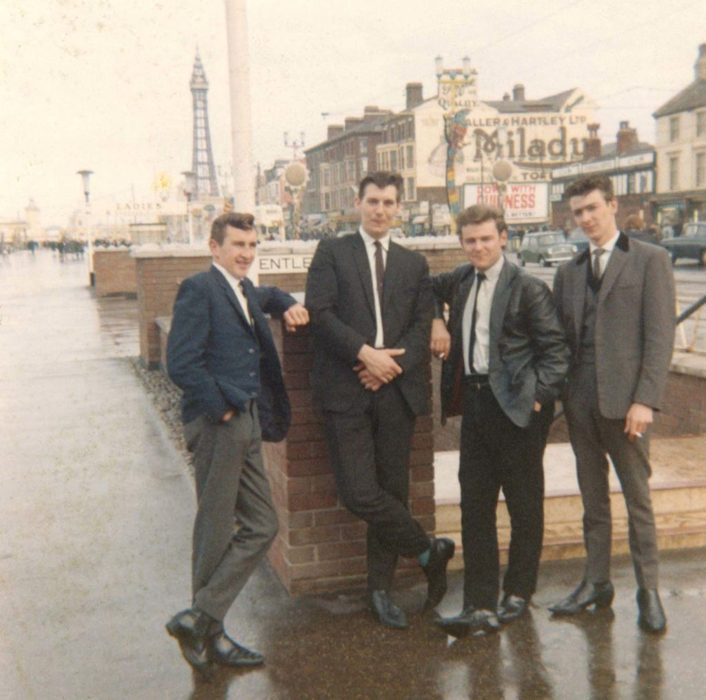 a photo of a group of yoing rockers circa early 1960s at Blackpool