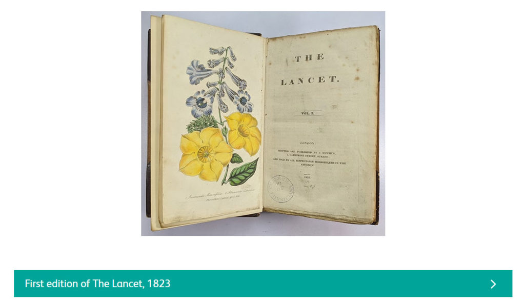 screenshot of webpage showing first edition of the lancet magazine