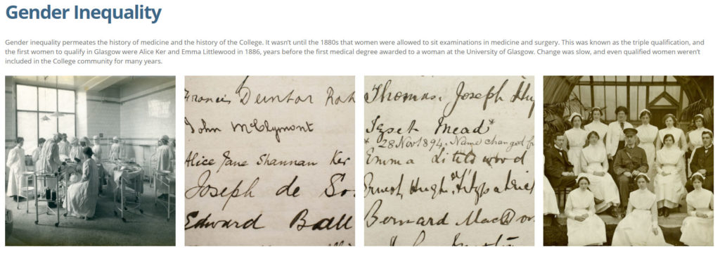 screenshot of online exhibition explornig gender equality in Victorian medicine with two photos and two images of Victorian documents