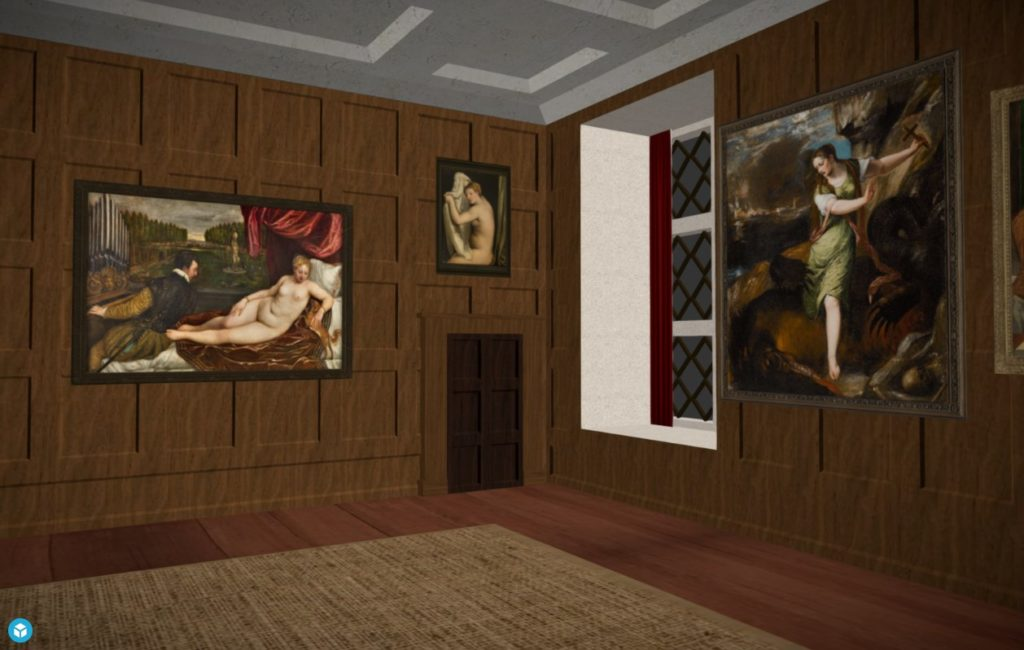 screenshot of vr walkthrough of Charles I's private galleries
