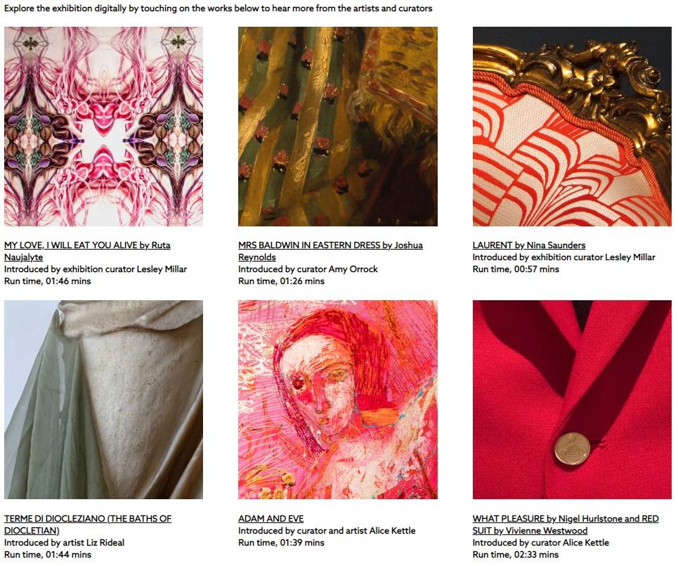 screenshot of six textile artworks on website