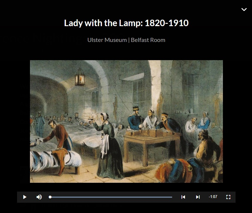 screenshot of audio exhibition for Florence Nightingale 200