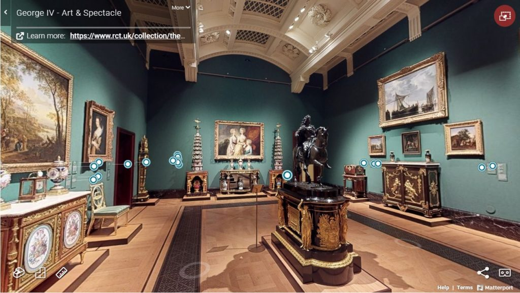 360 virutual walkthrough of Geroge IV Art and Spectacle exhibition showing paintings and sculptures on display