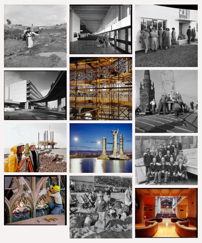 a screenshot showing selection of photos of different buildings and construction work