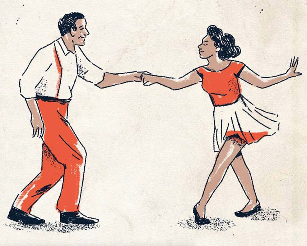 drawing of a man and woman lindy hopping