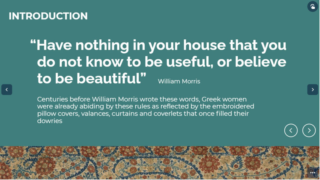 online exhibition slide with quote from William Morris