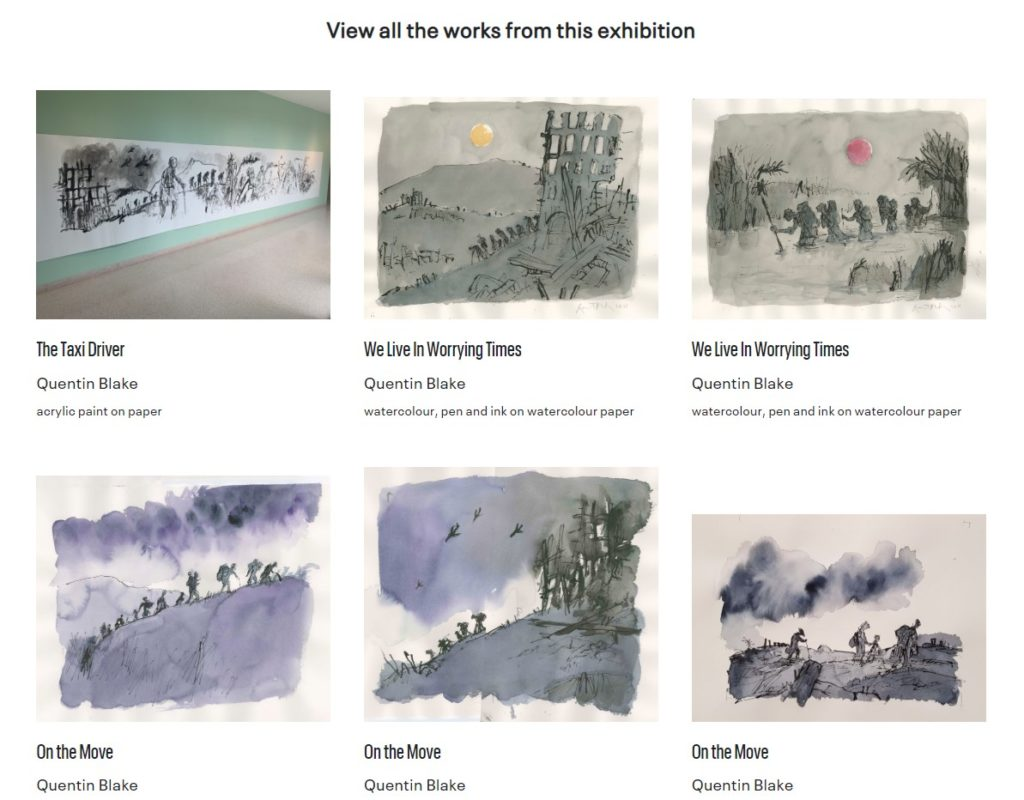 screenshot of six paintings by Quentin Blake on webpage