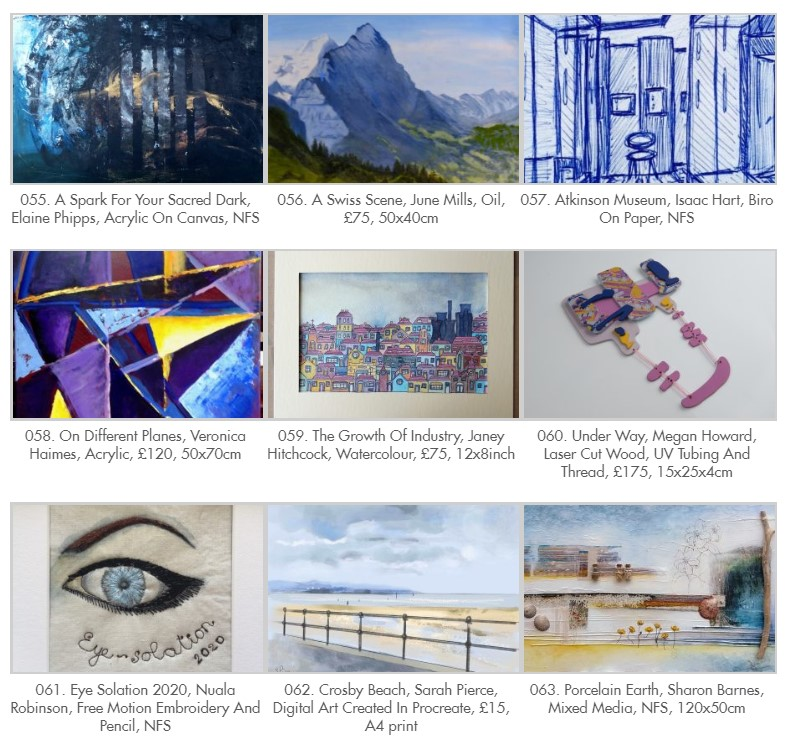 a selection of the artowrks on display as part of the Sefton Open exhibition