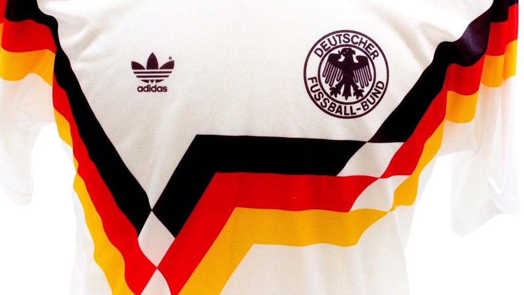 still from National Football Museum video showing a closeup of the 1988-1991 West Germany football shirt